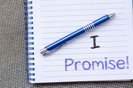 I promise text concept write on notebook