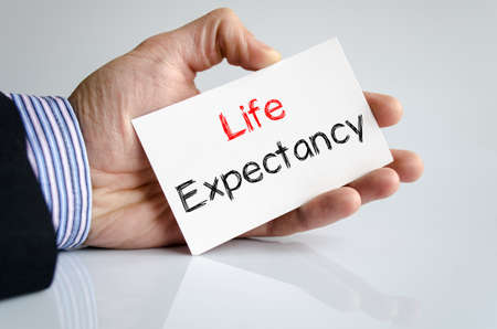 expectancy: Life expectancy text concept isolated over white background