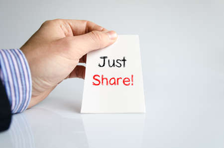 technology agreement: Just share text concept isolated over white background Stock Photo
