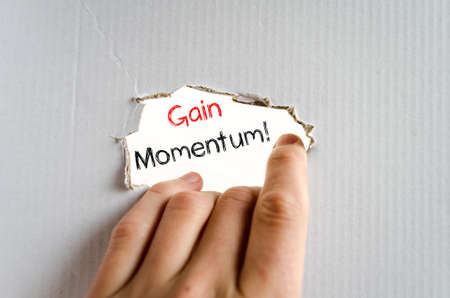 momentum: Gain momentum text concept isolated over white background