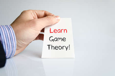 sign equals: Learn game theory text concept isolated over white background