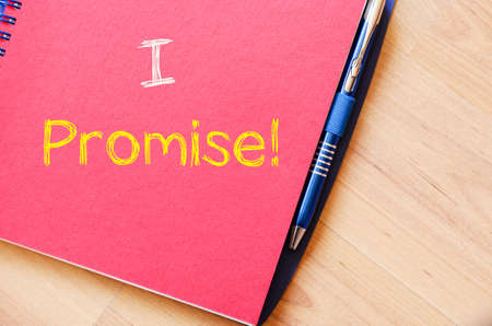 respond: I promise text concept write on notebook