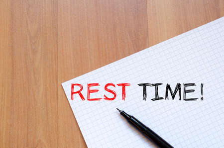 at rest: Rest time text concept write on notebook Stock Photo