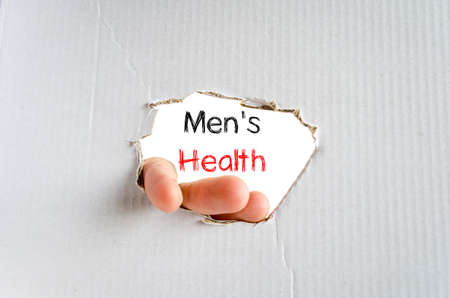 Mens health text concept isolated over white background