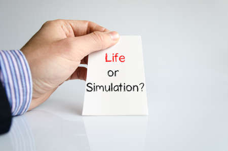 simulation: Life or simulation text concept isolated over white background
