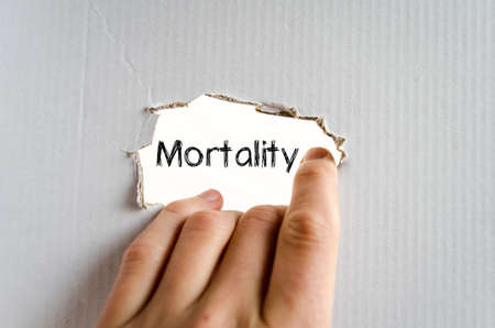 mortality: Mortality text concept isolated over white background Stock Photo