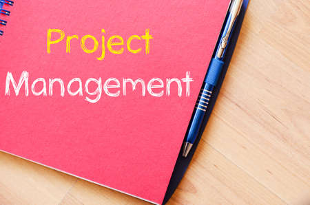 initiation: Project management text concept write on notebook Stock Photo