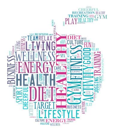 using senses: Healthy life illustration word cloud concept