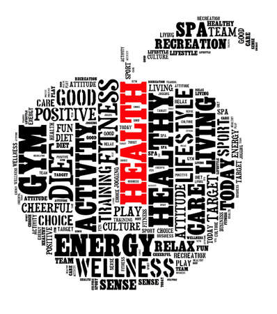 using senses: Healthy life illustration word cloud concept
