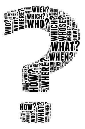 questions: Question mark illustration word cloud concept