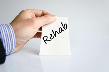 enable: Rehab text concept isolated over white background Stock Photo