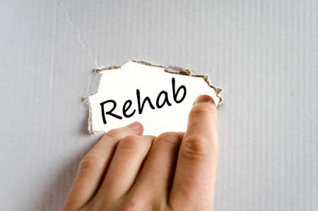 rehab: Rehab text concept isolated over white background Stock Photo