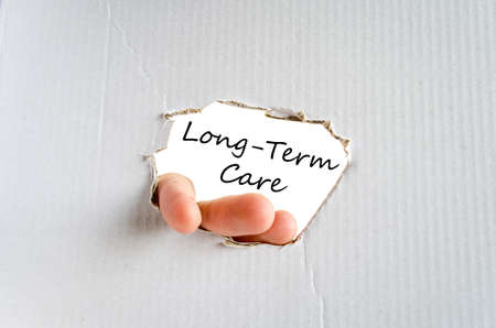 insurance themes: Long-term care text concept isolated over white background Stock Photo