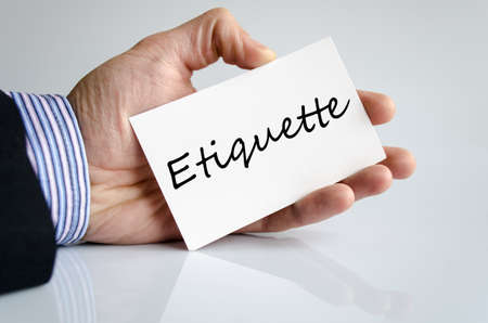 Etiquette text concept isolated over white background Stock Photo