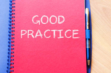 archetype: Good practice text concept write on notebook with pen