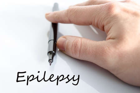 convulsion: Epilepsy text concept isolated over white background Stock Photo