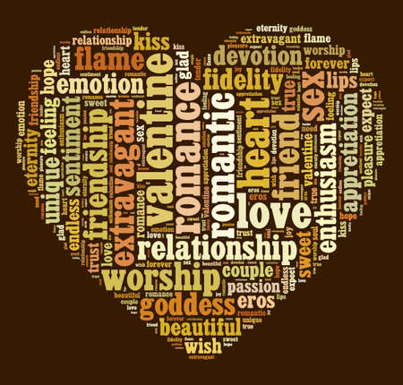 Valentine word cloud shaped as a heart Banco de Imagens - 49040106