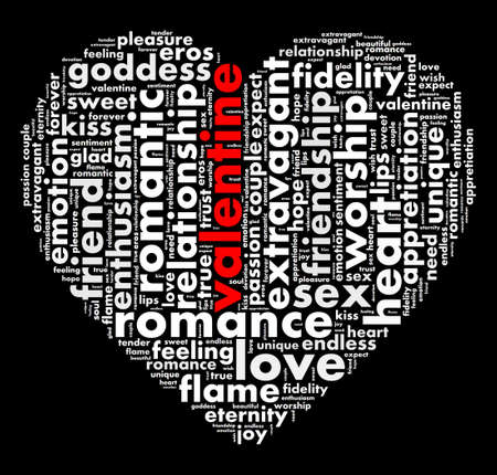 Valentine word cloud shaped as a heart Banco de Imagens
