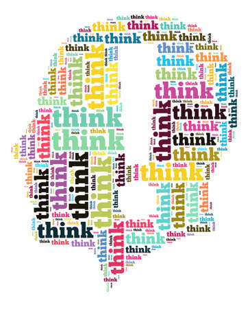believer: Think word cloud concept in human head shape