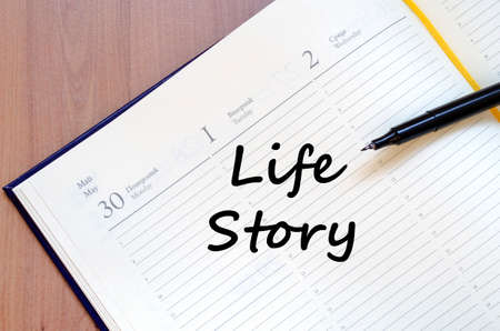once person: Life story text concept write on notebook with pen