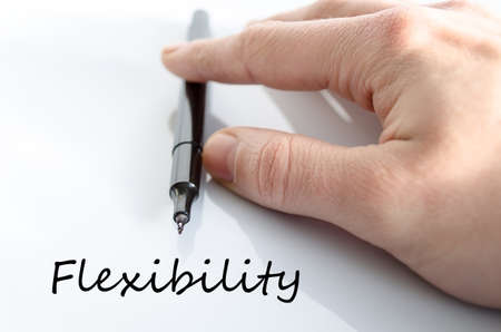 flexibility: Flexibility text concept isolated over white background Stock Photo