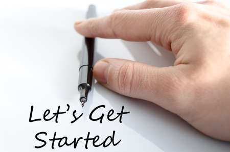 Lets get started text concept isolated over white background Stock Photo