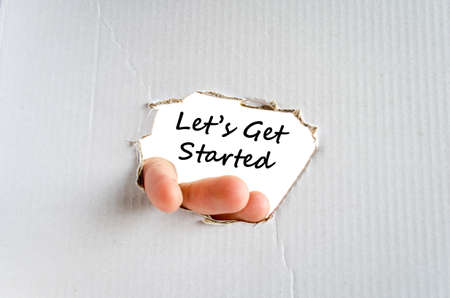 entrepreneurial: Lets get started text concept isolated over white background Stock Photo