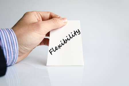 accommodating: Flexibility text concept isolated over white background Stock Photo
