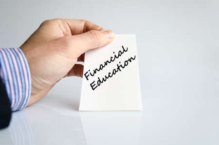 financial education: Financial education text concept isolated over white background Stock Photo