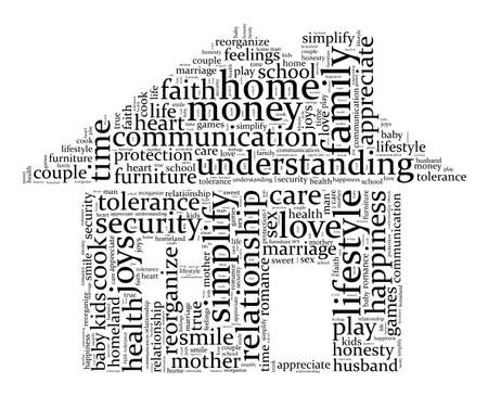 reorganize: Home and family word cloud concept