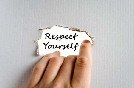 self worth: Respect yourself text concept isolated over white background