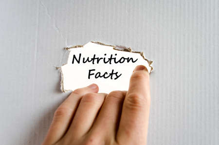 subsistence: Nutrition facts text concept isolated over white background Stock Photo