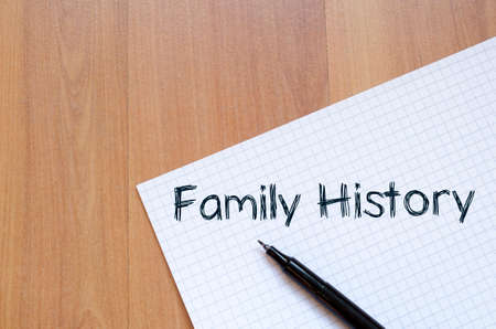 forefathers: Family history text concept write on notebook with pen