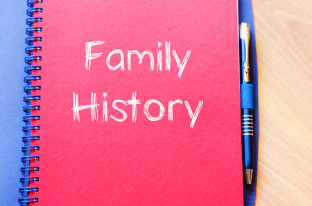 kinship: Family history text concept write on notebook with pen