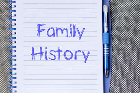 family history: Family history text concept write on notebook with pen