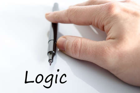 philosophy of logic: Logic text concept isolated over white background Stock Photo