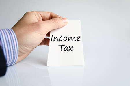 reform: Income tax text concept isolated over white background Stock Photo