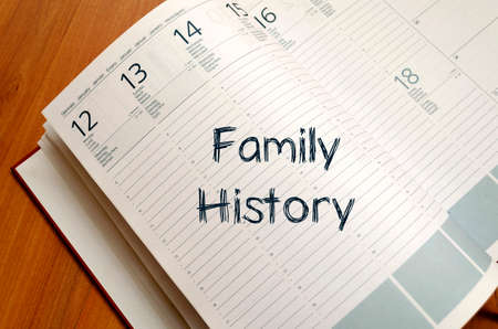family history: Family history text concept write on notebook