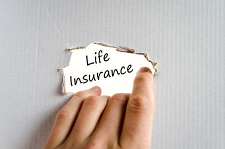 insurer: Life insurance text concept isolated over white background Stock Photo