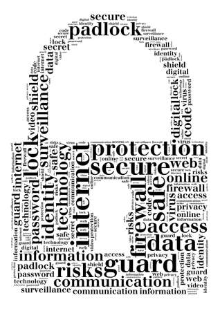 padlock: Security word cloud  illustration concept over padlock shape Stock Photo