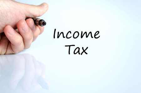 income tax: Income tax text concept isolated over white background Stock Photo