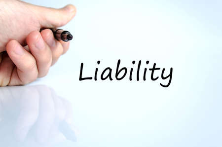 liability: Liability text concept isolated over white background