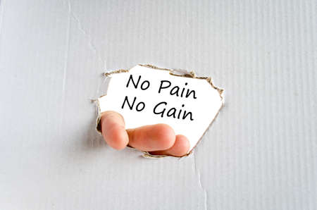 strengthening: No pain no gain text concept isolated over white background Stock Photo