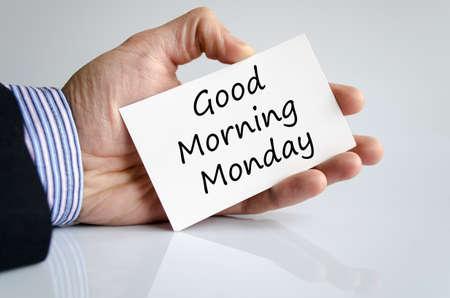 hi back: Good morning monday text concept isolated over white background Stock Photo