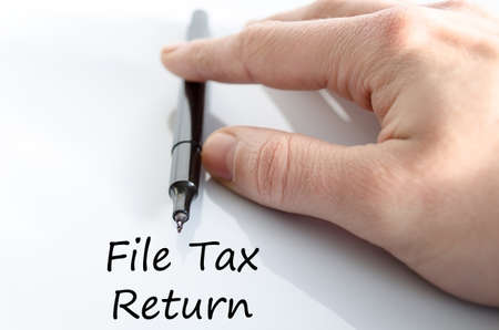 taxable income: File tax return text concept isolated over white background