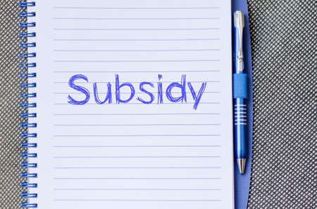 financially: Subsidy text concept write on notebook with pen