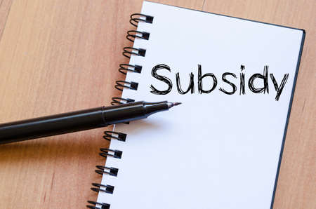 subsidy: Subsidy text concept write on notebook with pen