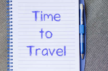 opportunity discovery: Time to travel text concept write on notebook with pen Stock Photo
