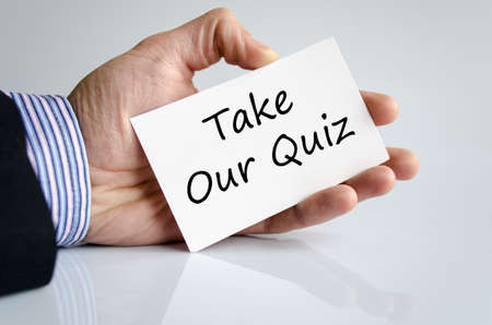Take our quiz text concept isolated over white background