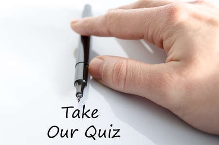 review site: Take our quiz text concept isolated over white background